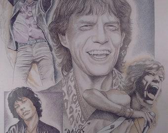 Celebrity Drawings - Celebrity Art - Celebrity Portrait - Celebrity Tribute- Mick Jagger - The Rolling Stones