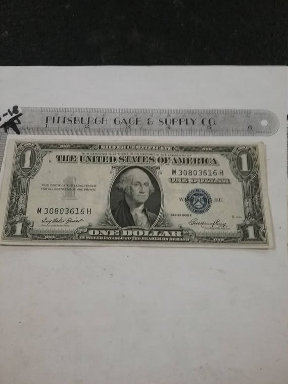Vintage Used Circulated Silver Certificate 1935 1 Dollar