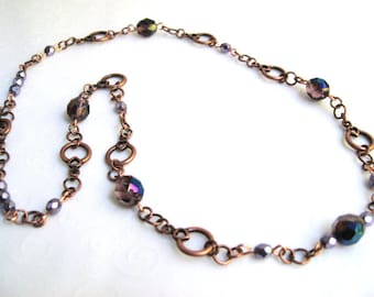 Antique Copper Necklace with Purple Beads, Single Strand Necklace, Copper Beaded Necklace, Everyday Fashion Jewelry
