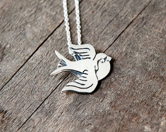 Big Swallow pendant sterling silver / 925 / chain / nature / bird