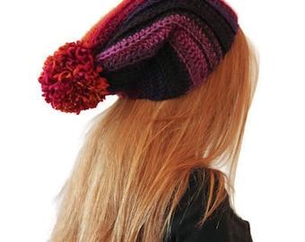 Crochet Spring Slouch Pom Pom Hat