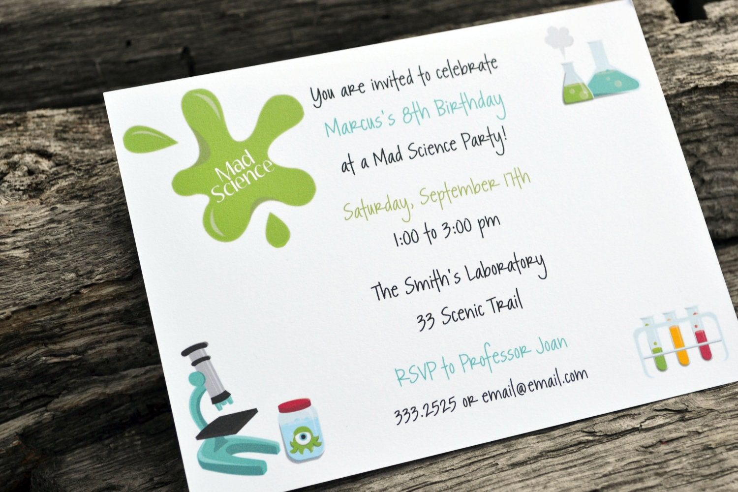 Kids Science Birthday Party Invitations / Kids Science Party