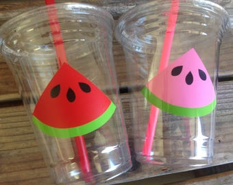 Watermelon Summer Party Cups - Watermelon Party, Luau Party, Watermelon Party, One In A Melon Party