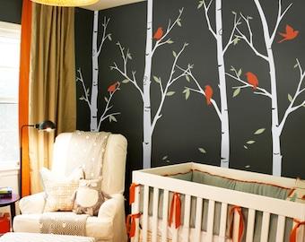 Thin Birch Tree Wall Decals Sticker Set