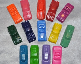 Sensory Toy Car Party Favors Recycled Crayons/ Total of 14.  Boy or Girl Kids Unique Party Favors, Crayons.