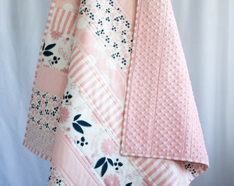 Pink and Navy Handmade Baby Quilt, Floral Nursery Quilt, Minky Blanket, Navy and Pink Baby Shower Gift, Pink and Navy Baby Bedding