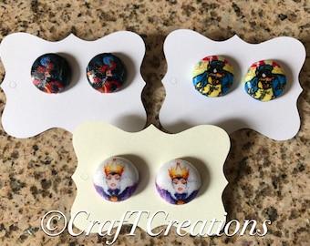 Disney Villains Nickel Free Water Resistant Fabric Button Earrings