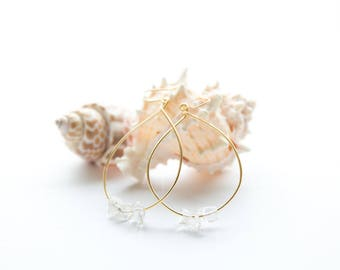 Crystal Quartz Gold Hoop Earrings - Gold Plated Brass - Hypoallergenic - Nickel Free - Lead Free