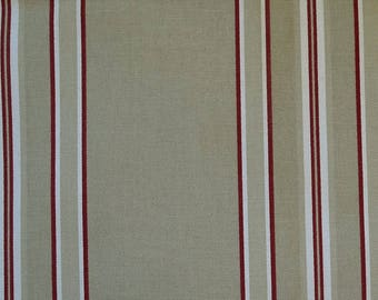 Vintage ticking,  beige and red homespun, country fabric