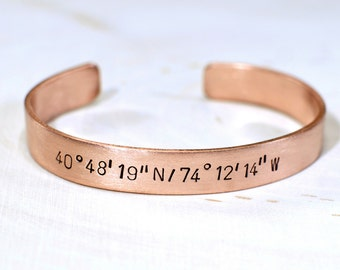 Latitude longitude bracelet personalized with your own custom coordinates in copper - BR046