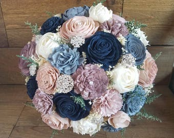 Custom Navy Mauve Dusty Blue Steel Blush Sola Flower Bouquet Bridesmaids Toss Flower Girl dried Flowers Brooch Bouquet Style 77