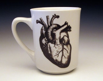 anatomical heart classic mug, anatomical heart, heart mug, doctor gift, coffee mug, eat your heart out, medical gift, goth tableware