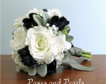 "White, Navy Blue, Grey, Silk Flower Wedding Bouquet, Roses, Anemone, Baby's Breath, Hydrangea, Bridal, Bridesmaids, Flower Girl, ""Rebecca"""