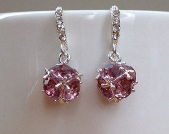 Silver and light purple/ mauve crystal ball earrings