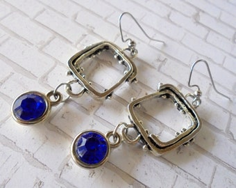 Silver and Blue Industrial Steampunk Earrings (4379)