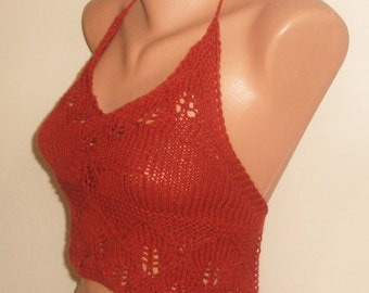 Knit Top Womens Top in Rust Top Red Brown Top Knit Womens Festival Clothing Festival Top - gift under 20 dollar