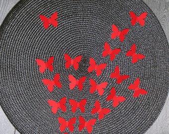 20 stickers 3D red butterflies