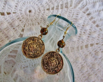 Gold charm earrings with lampwork glass beads