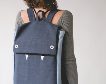Blue Laptop Backpack, Blue Backpack, Canvas Backpack, Monster Backpack, Cute Backpack, Blue Laptop Bag, School Backpack, Vegan backpack