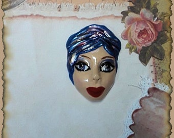 Face Cabochon, 1940's Reproduction, Vintage Face