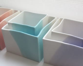Cube set of 2 made from English fine bone china  in 4 pastel colors - geometric decor