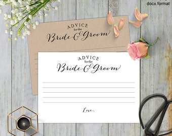 Advice for the bride and groom, Wedding advice card, advice wedding,  printable cards, templates, wedding cards, Instant download,#S3-ABG