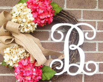 Summer Wreath,Wedding Wreath, Wedding Shower Wreath, Bridal Wreath, Bridal Shower Wreath, Grapevine Wreath, Hydrangea Wreath, Initial Wreath