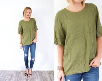 Vintage BOHO large olive green blouse // green shirt top // army green top // oversized blouse top // boxy top large shirt oversized fall