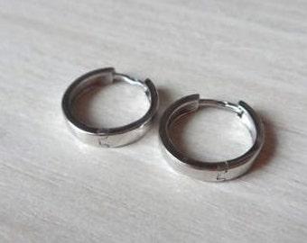 Sterling Silver Round 2,5mm Huggie Hinged Hoop Earrings 15mm