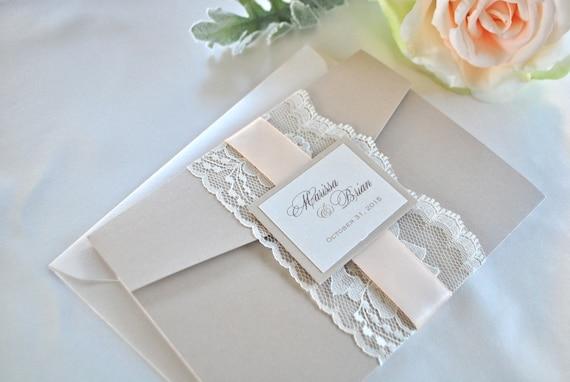 Blush And Ivory Wedding Invitations: Lace Champagne And Blush Pocket Wedding Invitation Ivory