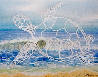 Sea Turtle Waves Watercolor Painting Original