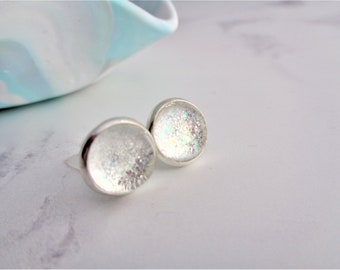 White Pastel Rainbow Glitter Nail Polish Silver Plated Stud Earrings with Stopper, Unicorn Studs, Sparkly White, Varnish, Pale Rainbow
