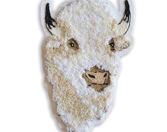 Chain Stitch Patch- Sacred White Bison Head