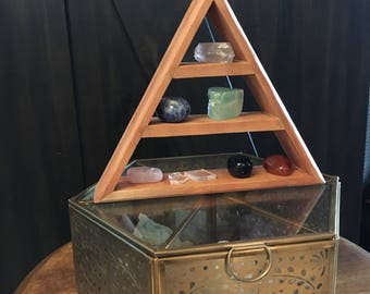 Glass and Brass Divided Crystal Holder, Small Triangle Shelf Set, Crystals, Crystal Display, Redwood Triangle Shelf, Pyramid Shelf
