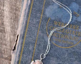 Silver Jasper Arrowhead Necklace - Long Boho Arrowhead Stacking Necklace