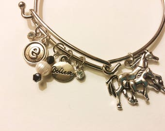 Horse Charm Bracelet (any letter of buyer's choice)