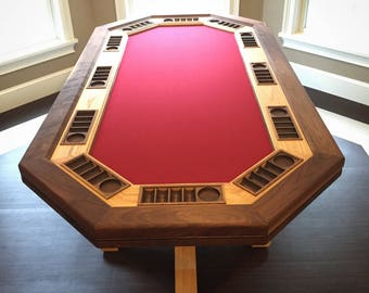Professional 12 seat Hardwood Poker Table game room/man cave centerpiece!