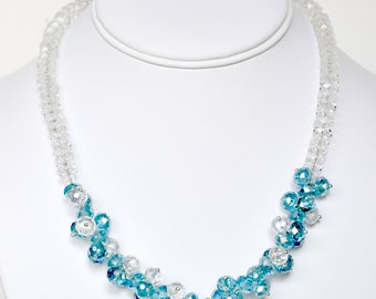 Turquoise Necklace Handmade Beaded Jewelry in Silver Beaded Necklace Swarovski Crystals