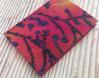 CLEARANCE A7 Lined Notebook Hand Covered in a contemporary Wax Print Batik Fabric