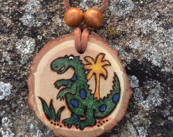 Dinosaur Pendant Necklace from Natural Wood Slice. Original Woodburning.