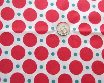 1 + Yard Snorkel Fabric Cotton Quilting Fabric Destash Cosmo Cricket Polka Dots Watermelon Pink Teal Green on White