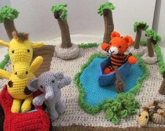 Play Mat, Safari Play Mat, Safari, Stuffed Animals, Amigurumi, Plushie, Giraffe, Elephant, Tiger, African Toy, Jungle Toy, Made with Yarn