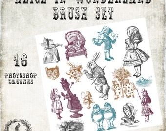 Alice in Wonderland Photoshop Brush Set -  Scrapbook / Photoshop Tools - 16 Brushes - Instant Download - 16 .abr Files