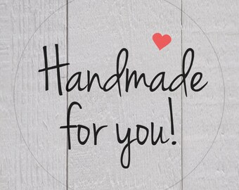 Handmade for You Sticker, Transparent Handmade For You Labels, Clear Stickers, Business Branding (#148-C)