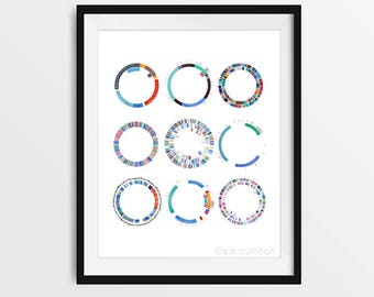 Plasmid Collection, DNA, Science art, watercolor print, science illustration, microbiology, bacteria, microbes, biology art, virus, gift