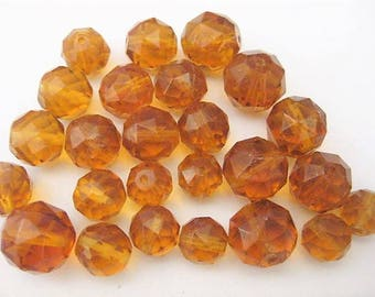 Jewelry Supplies ~  Glass Amber Beads  25ct  Round  Faceted   10, 12,14mm    (A16)