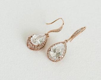 Rose Gold Bridal Earrings, CZ Wedding Earrings, Gold Bridal Earrings, Silver Wedding Earrings, Wedding Jewelry