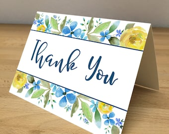 Personalized Note Cards - Blue and Yellow Flowers
