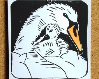 Hand printed linocut blank greetings card - Cygnet #2. Swan. Cygnet. Birthday. Thank you.
