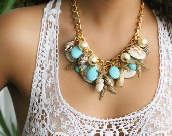 Shells Necklace - Turquoise & Starfish